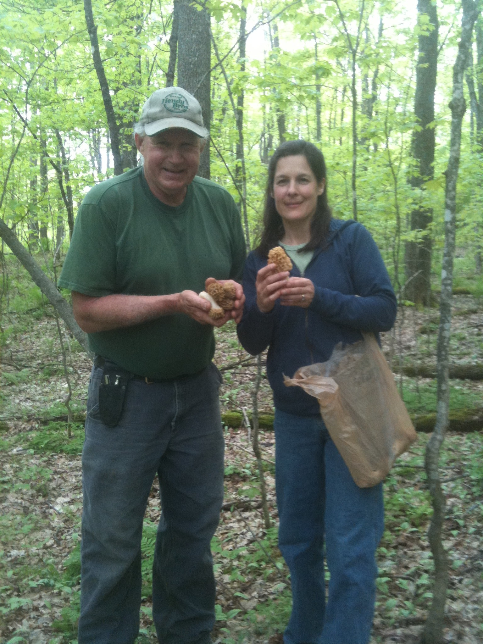 Bill & Cathy Emmons on Forest Walk with Patrick locating mushrooms