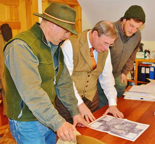 From left to Right:  Forester, Patrick Bartlett, Woodlot Owner, Thomas Hayes, Esq., Bartlett Forestry Associate, Tucker Westenfeld check details of the area to be harvested on the Hayes property plot map.
